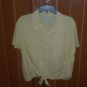 White and yellow blouse